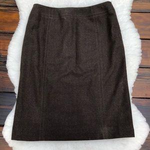 Luciano Barbera Brown Tweed Wool Skirt